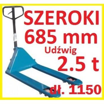 WÓZEK PALETOWY PALECIAK SZEROKI szerokość 685mm  udźwig 2.5t 2500kg