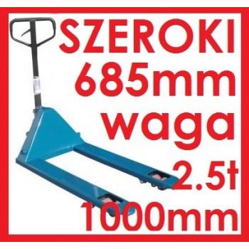 WÓZEK PALETOWY PALECIAK Z WAGĄ SZEROKI szerokość 685mm  widły 1000mm udźwig 2.5t 2500kg