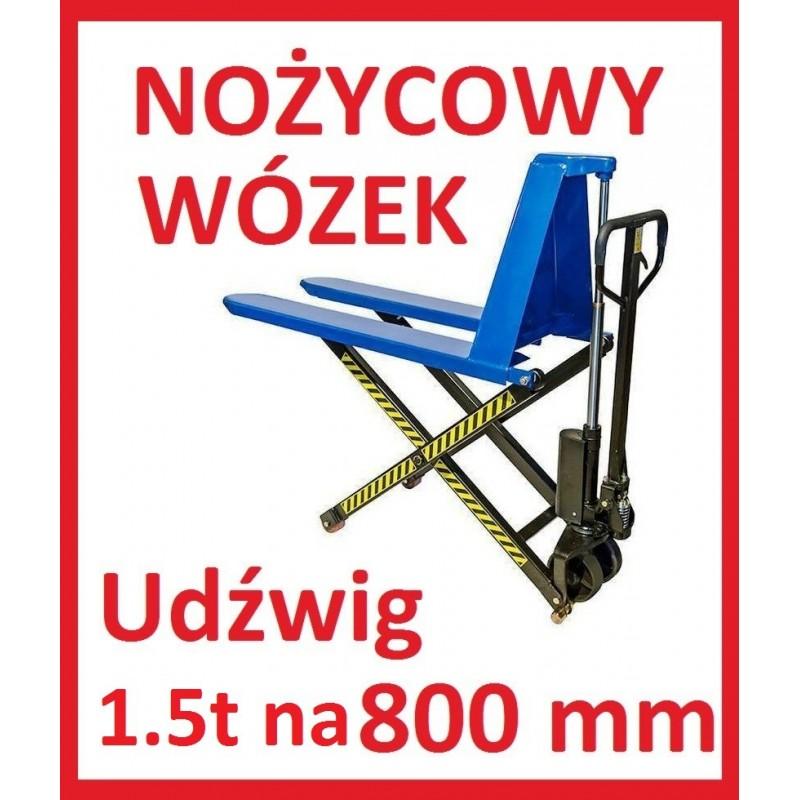 Wózek nożycowy krzyżowy paleciak 1t na 80cm